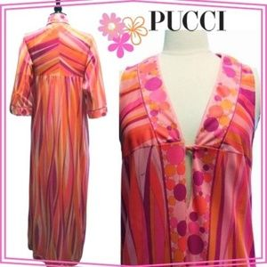 VINTAGE 70's PUCCI NIGHTGOWN + ROBE PEIGNOIR